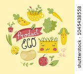 eco product banner with cartoon ... | Shutterstock . vector #1045438558