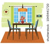 stylized and cozy dining room... | Shutterstock .eps vector #1045441720
