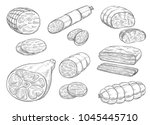 meat and sausages sketch icons. ... | Shutterstock .eps vector #1045445710