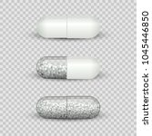 capsule pill set isolated on... | Shutterstock .eps vector #1045446850