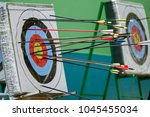 a archery targets at various... | Shutterstock . vector #1045455034
