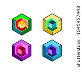 set of 3d square square on a... | Shutterstock .eps vector #1045457443