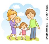 happy family on the sky... | Shutterstock .eps vector #104545808