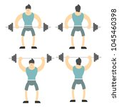 a man lifts a heavy barbell... | Shutterstock .eps vector #1045460398