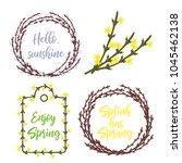 spring wreaths and frames set... | Shutterstock .eps vector #1045462138