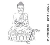 sitting buddha with cat. vector ... | Shutterstock .eps vector #1045465078