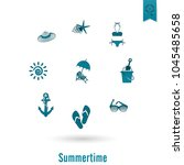 summer and beach simple flat... | Shutterstock .eps vector #1045485658
