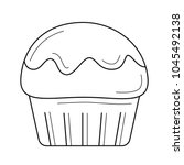 muffin vector line icon... | Shutterstock .eps vector #1045492138