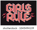 vector illustration girls rule... | Shutterstock .eps vector #1045494139