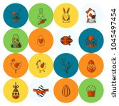 celebration easter icons.... | Shutterstock .eps vector #1045497454