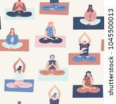women yoga meditation class... | Shutterstock .eps vector #1045500013