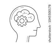brain with gears vector line... | Shutterstock .eps vector #1045500178