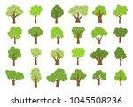 set of twenty four green trees...   Shutterstock .eps vector #1045508236