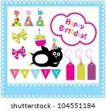 cute happy birthday scrap... | Shutterstock .eps vector #104551184