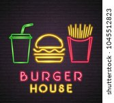burger house neon light glowing ... | Shutterstock .eps vector #1045512823