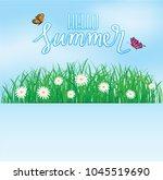 hello summer  butterfly flying... | Shutterstock .eps vector #1045519690