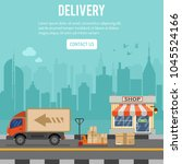 shopping and delivery concept... | Shutterstock .eps vector #1045524166