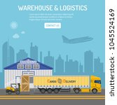 warehouse  logistics banner and ... | Shutterstock .eps vector #1045524169
