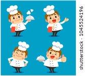 vector set of male chef... | Shutterstock .eps vector #1045524196