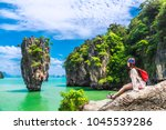 traveler asian woman in summer... | Shutterstock . vector #1045539286