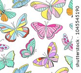 seamless colorful pattern with... | Shutterstock .eps vector #1045545190