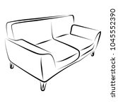sofa furniture vector isolated... | Shutterstock .eps vector #1045552390