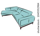 sofa furniture vector isolated... | Shutterstock .eps vector #1045552984