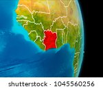 ivory coast in red on planet... | Shutterstock . vector #1045560256