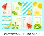 Set of fruit menu flyer design templates. Vector illustration with realistic tropical summer fruit. Brochures design for promo posters or covers in A4 format size.   Shutterstock vector #1045563778