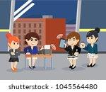 businesswoman test her... | Shutterstock .eps vector #1045564480