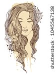 beautiful girl with long hair.... | Shutterstock .eps vector #1045567138