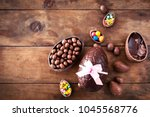 Chocolate Easter Eggs On Woode...