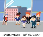 business people playing dart... | Shutterstock .eps vector #1045577320