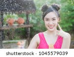 beautiful asian woman in... | Shutterstock . vector #1045579039