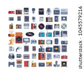 retro technology items icons... | Shutterstock .eps vector #1045579216