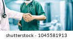 doctors shaking hands with... | Shutterstock . vector #1045581913