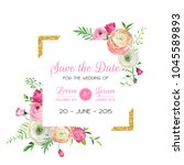 Stock vector save the date card template with golden glitter frame and pink flowers wedding invitation 1045589893
