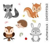 woodland animals and decor... | Shutterstock .eps vector #1045595563