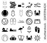 beach icons. set of 25 editable ... | Shutterstock .eps vector #1045596424