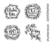 eco vector organic labels  bio... | Shutterstock .eps vector #1045596964