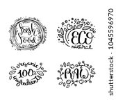 eco vector organic labels  bio... | Shutterstock .eps vector #1045596970