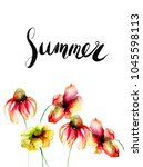 decorative summer flowers with... | Shutterstock . vector #1045598113