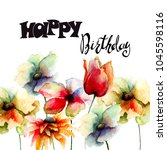 card template for birthday with ... | Shutterstock . vector #1045598116