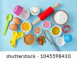 baking cupcake with ingredients ... | Shutterstock . vector #1045598410