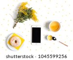 creative flat lay with mobile...   Shutterstock . vector #1045599256