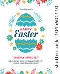 happy easter flyer template   Shutterstock .eps vector #1045601110