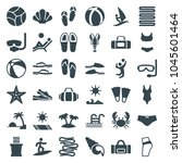 beach icons. set of 36 editable ... | Shutterstock .eps vector #1045601464
