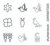 peace icons. set of 9 editable... | Shutterstock .eps vector #1045607320