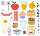 set of cute breakfast vector... | Shutterstock .eps vector #1045611880