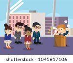 angry boss giving lecture to... | Shutterstock .eps vector #1045617106